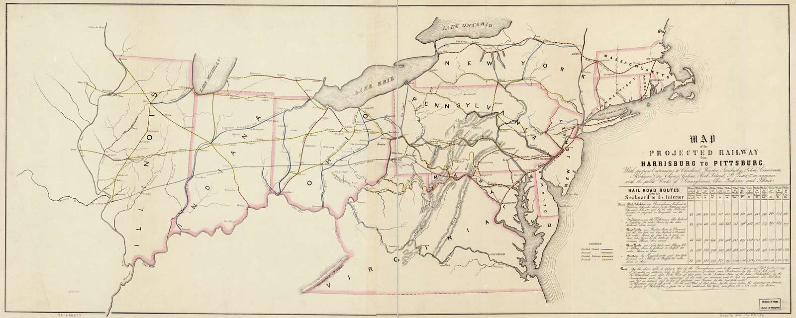 Map of the projected railway from Harrisburg to Pittsburg [sic], with proposed extension to Cleveland, Wooster, Sandusky, Toledo, Cincinnati; Michigan City, Chicago, Galena, Rock Island, St. Louis, &a; in connection with the public works of Pennsylvania, Ohio, Indiana and Illinois.