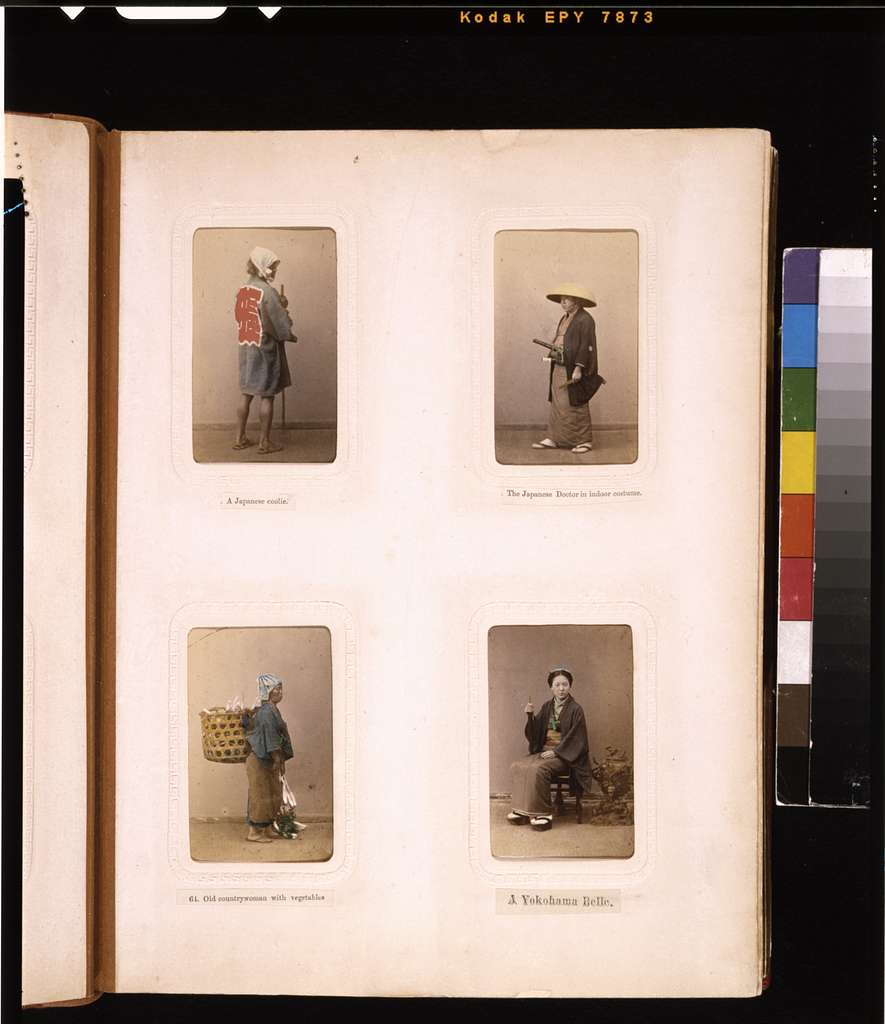 [Studio portraits of a Japanese laborer, a doctor, an elderly woman carrying vegetables in a basket and a young woman]