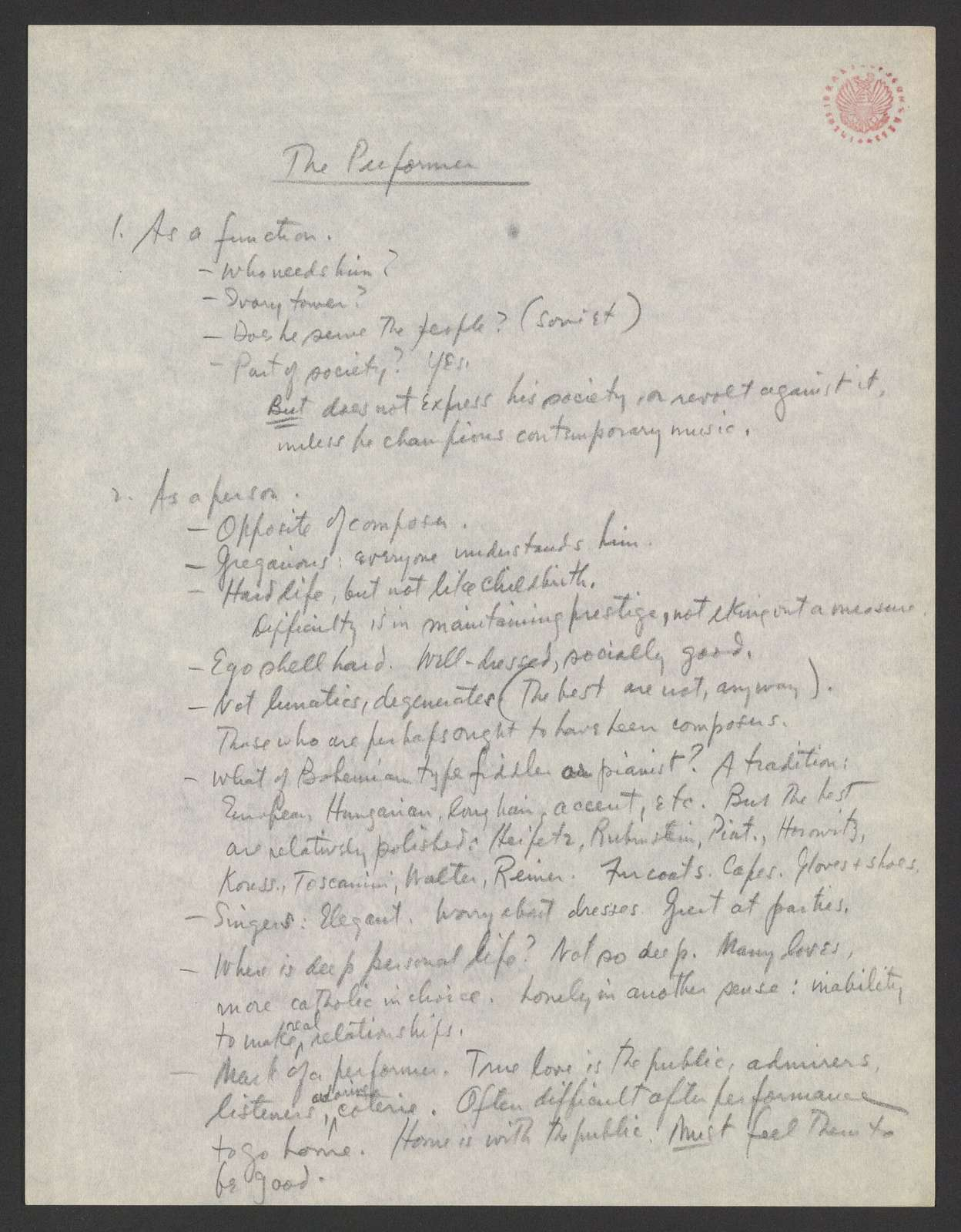The composer and the performer lecture outline, Brandeis University, 1952 May 20