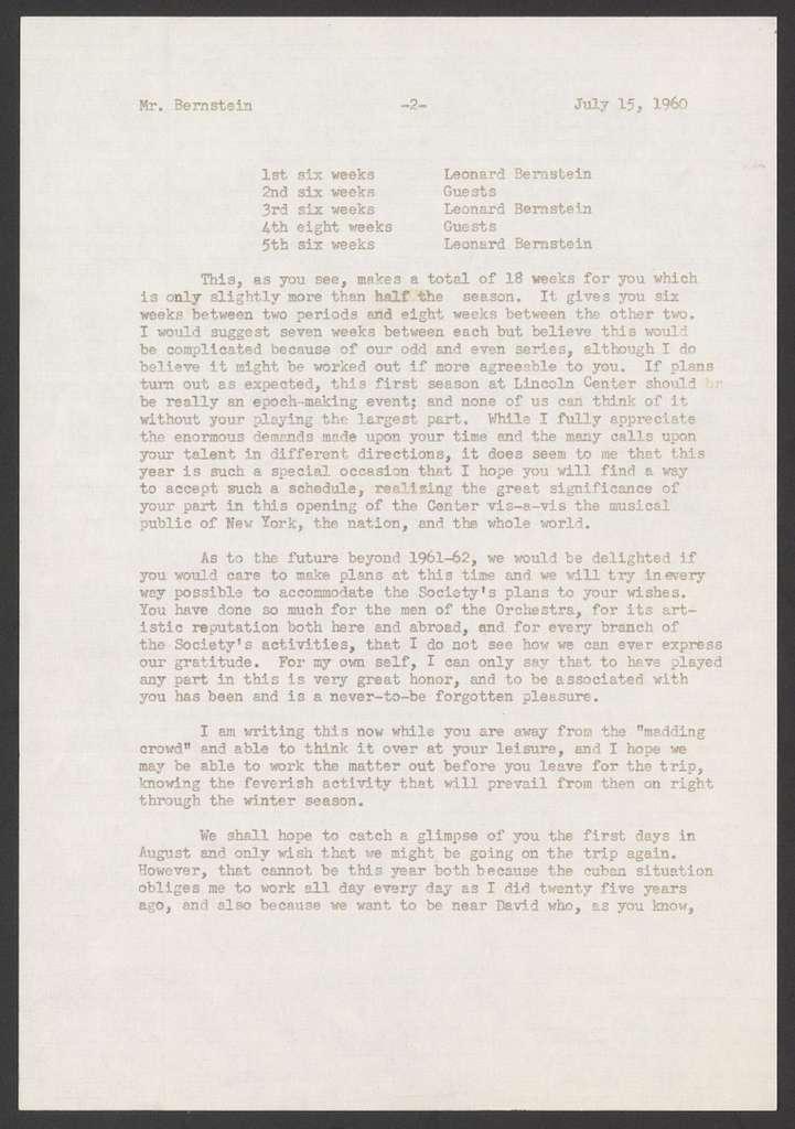 The Philharmonic-Symphony Society of New York to Leonard Bernstein, July 15, 1960