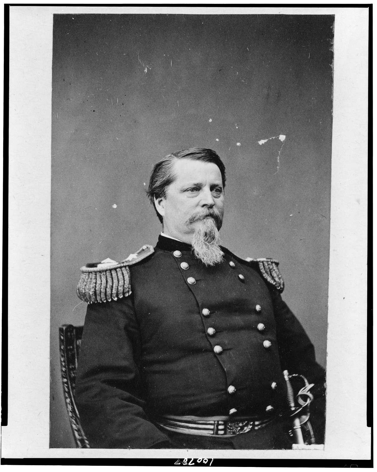 [Union general Winfield Scott Hancock, half-length portrait, seated, facing right, in uniform]