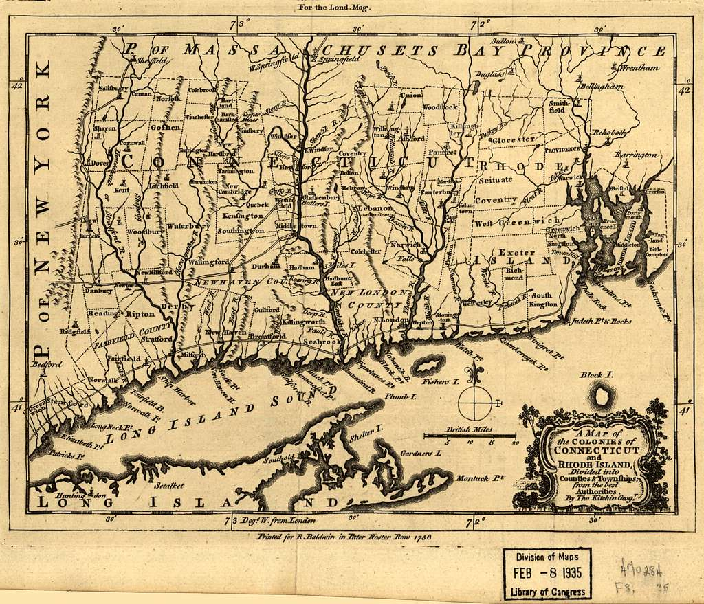 A map of the colonies in Connecticut and Rhode Island, divided by counties & townships, from best authorities.