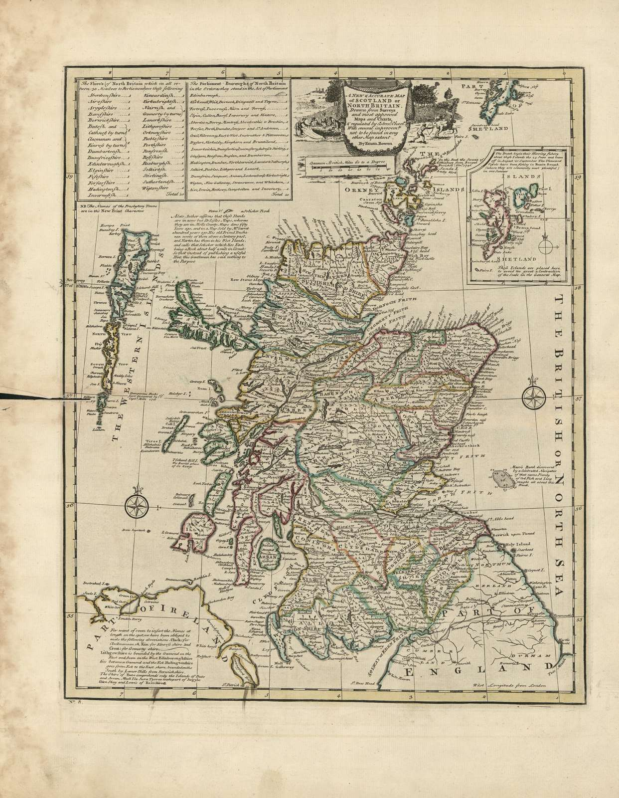 A new & accurate map of Scotland or North Britain : drawn from surveys and most approved maps and charts & regulated by astronom'l observ's : with several improvm'ts not to be found in any other map extant /