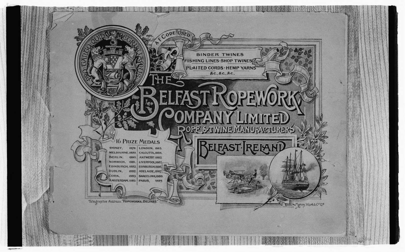 Belfast Works rope machinery brochure cover, 19th Century.