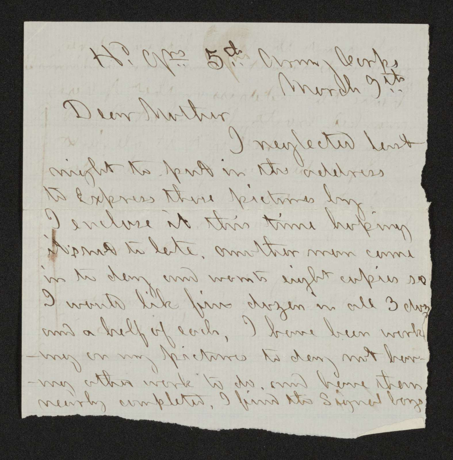 Charles Wellington Reed Papers: Correspondence; 1864; Mar.-Apr.