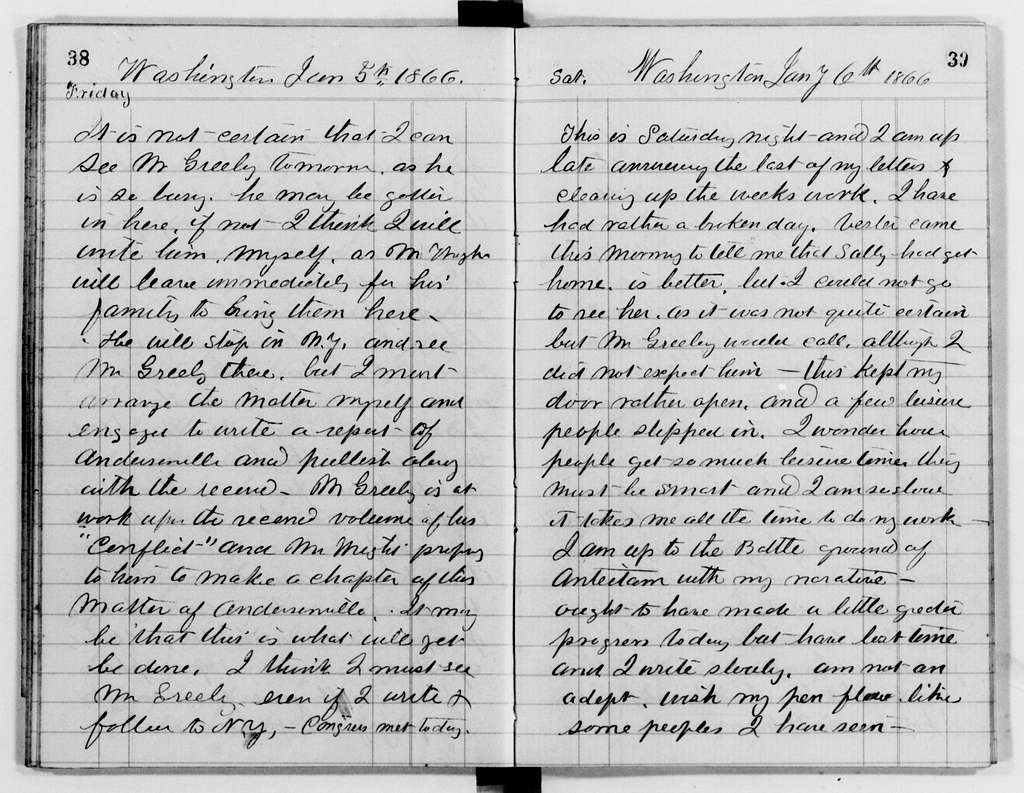 Clara Barton Papers: Diaries and Journals: 1866, Jan. 1-13 (includes ledger accounts of May 1864-May 1866)