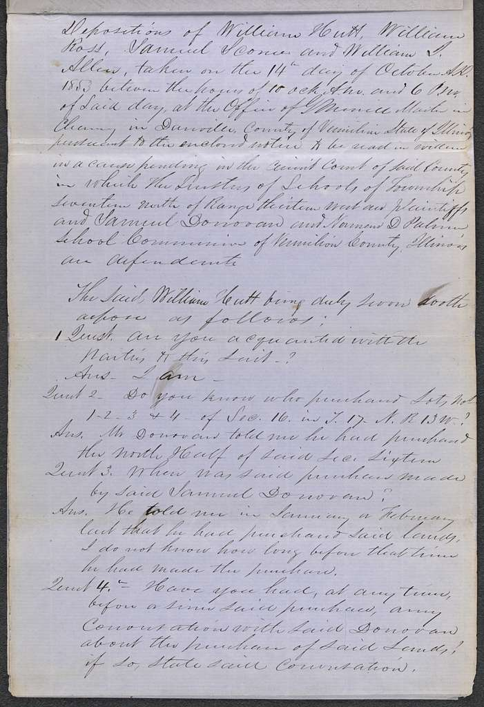 Deposition in Trustees of Township 17N, Range 13W v. Donovan & Palmer, [Law papers].