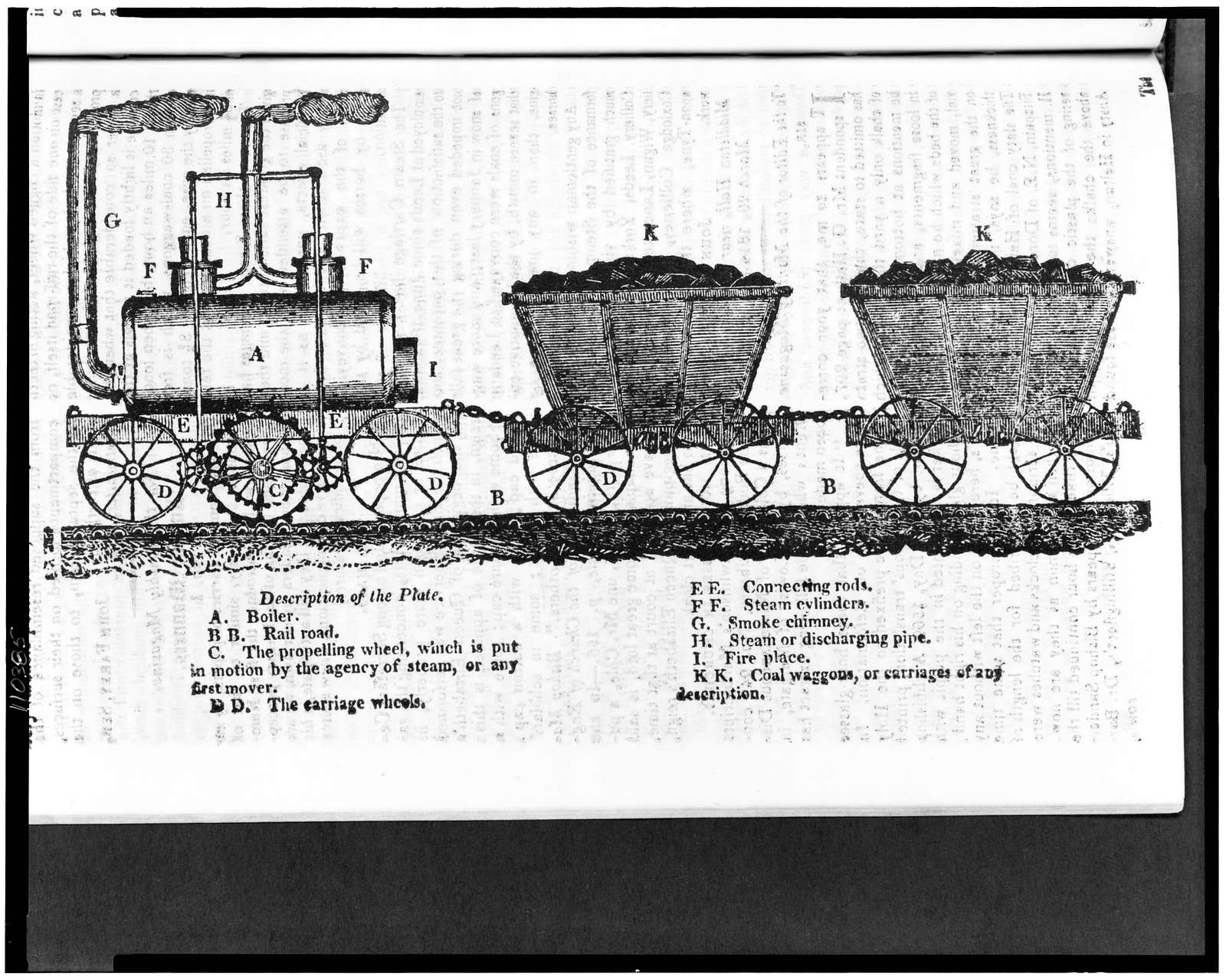 """[Early steam locomotive with toothed """"propelling wheel"""" which gripped a ribbed rail while other wheels rode on a smooth rail, and two coal cars]"""