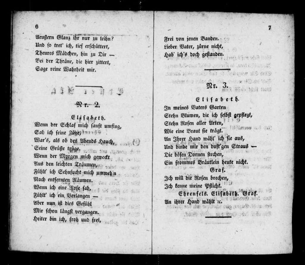 Gesänge aus Erinnerung Liederspiel in 2 Aufzügen