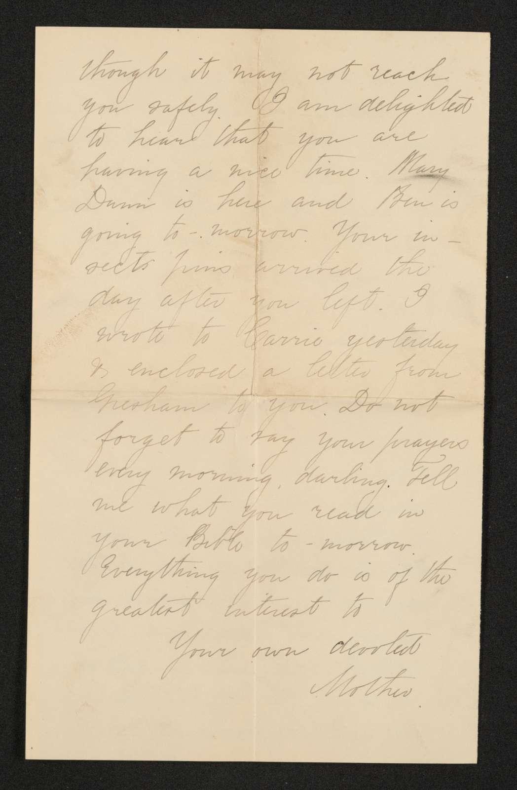 Lewis H. Machen Family Papers: Gresham Family Correspondence, 1834-1925; 1880-1899