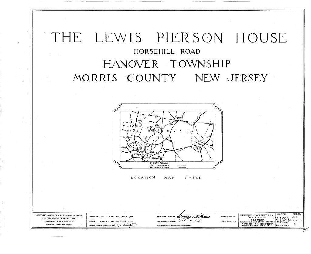 Lewis Pierson House, Horsehill Road, Morristown, Morris County, NJ