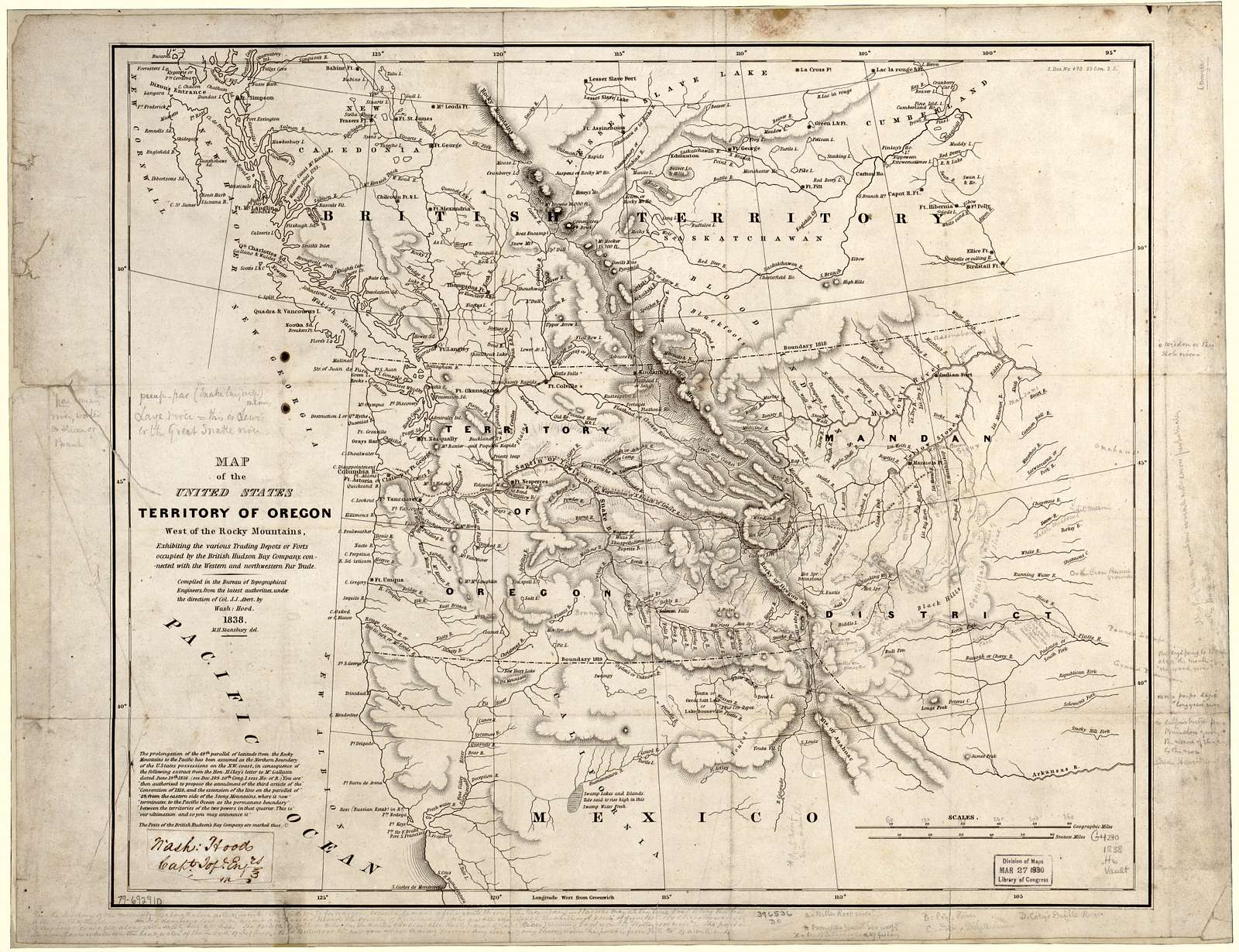 Map of the United States, Territory of Oregon, west of the Rocky Mountains, exhibiting the various trading depots or forts occupied by the British Hudson Bay Company, connected with the western and northwestern fur trade /