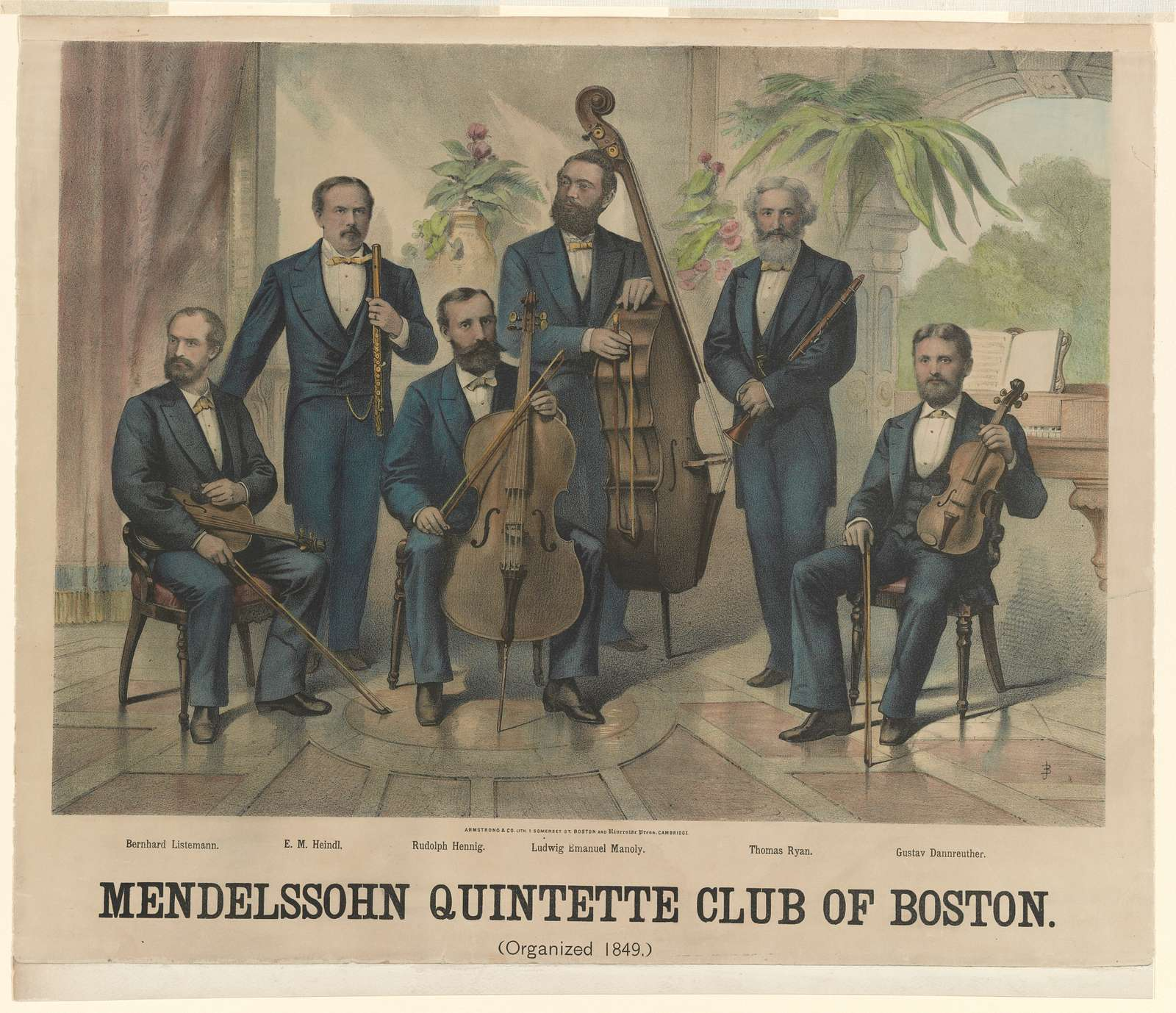 Mendelssohn Quintette Club of Boston (organized 1849) / Armstrong & Co. Lith. 1 Somerset St. Boston and Riverside Press, Cambridge.