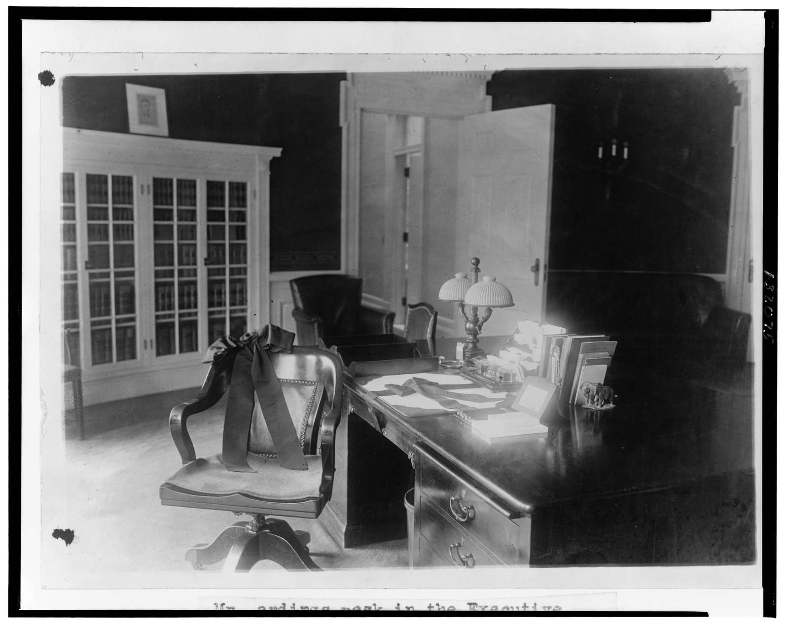 Mr. Harding's desk in the executive office