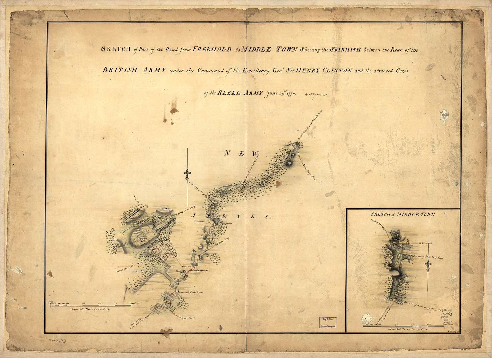 Sketch of part of the road from Freehold to Middle Town shewing the skirmish between the rear of the British Army under the command of His Excellency Genl. Sir Henry Clinton and the advanced corps of the rebel army, June 28th. 1778. Sketch of Middle Town.