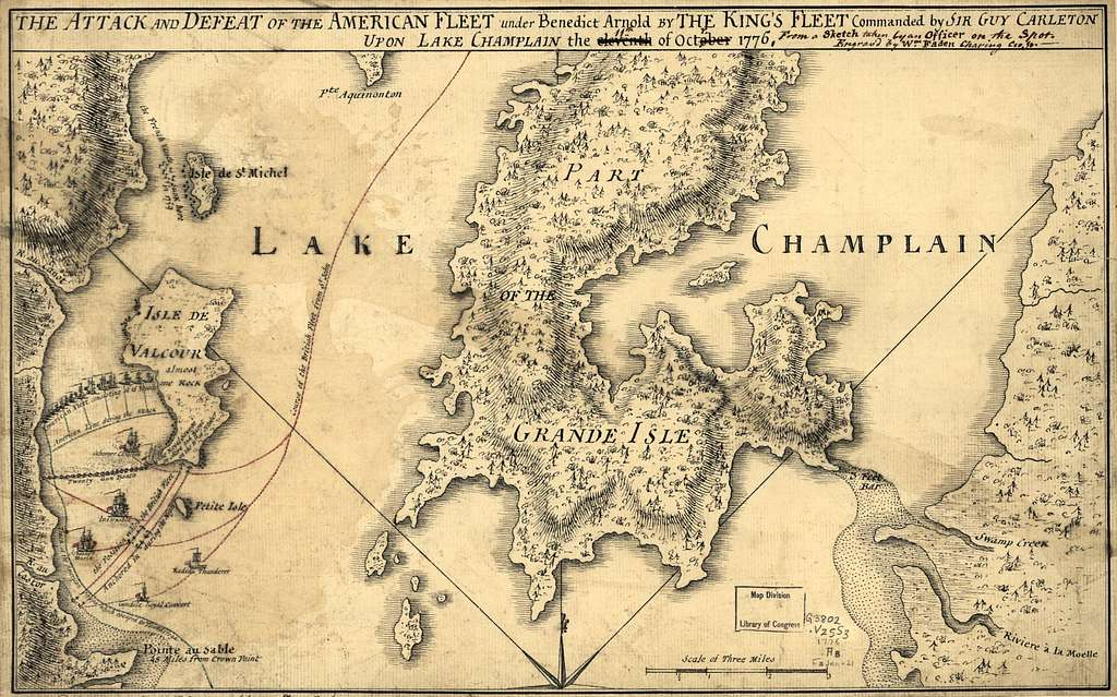 """The Attack and defeat of the American fleet under Benedict Arnold by the King's fleet commanded by Sir Guy Carleton upon Lake Champlain in """"11th"""" of """"Octr."""" 1776."""