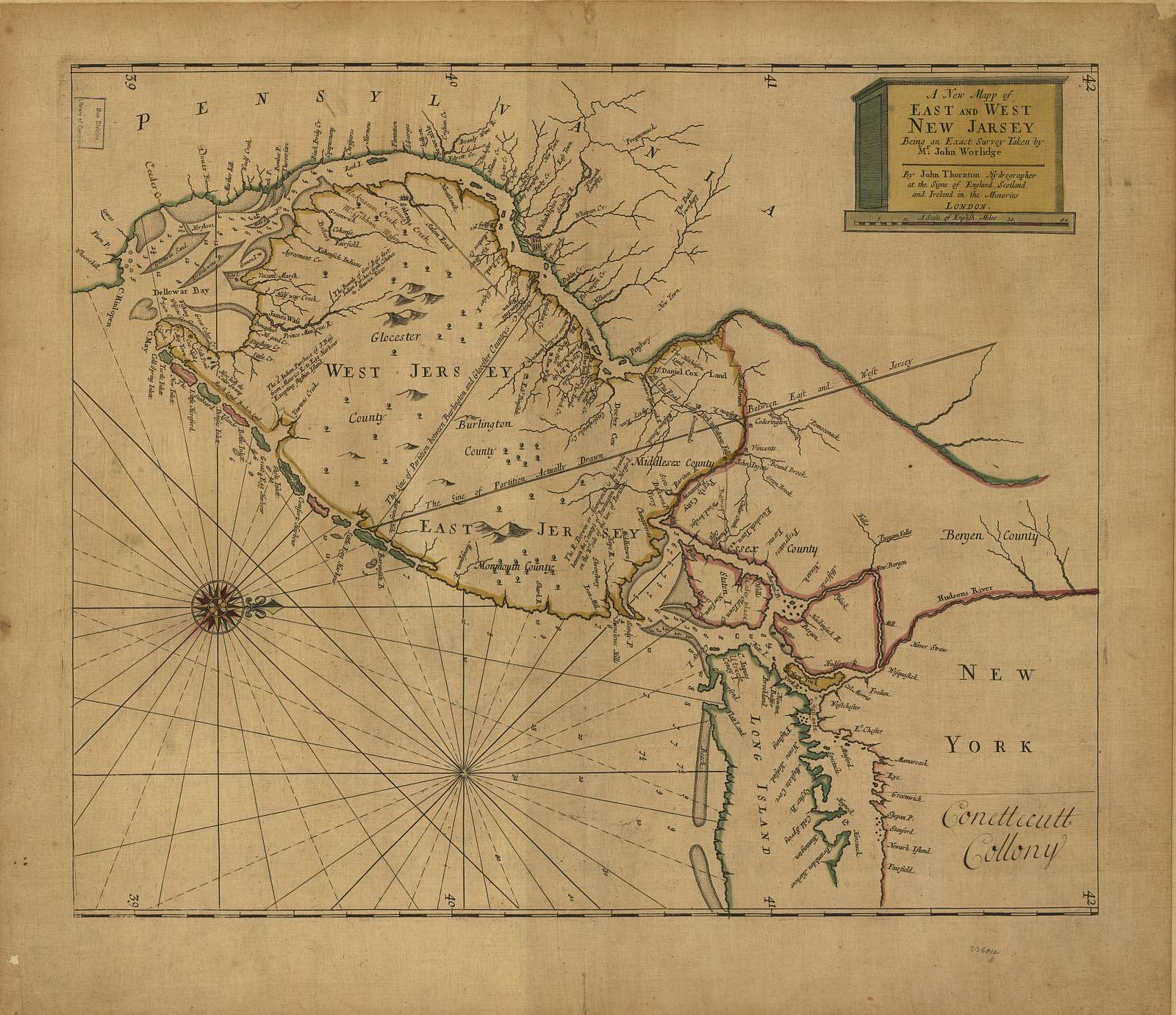 A new mapp of East and West New Jarsey [sic] : being an exact survey /