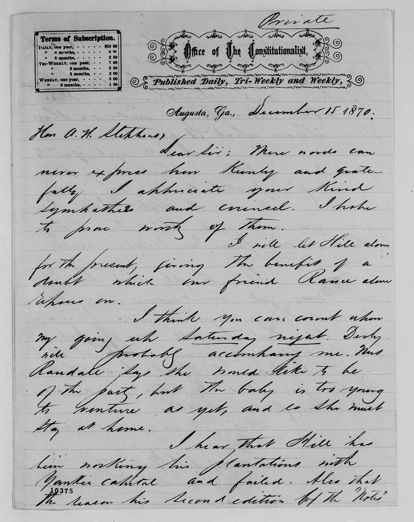 Alexander Hamilton Stephens Papers: General Correspondence, 1784-1886; 1870, Nov. 29-1871, Jan. 7