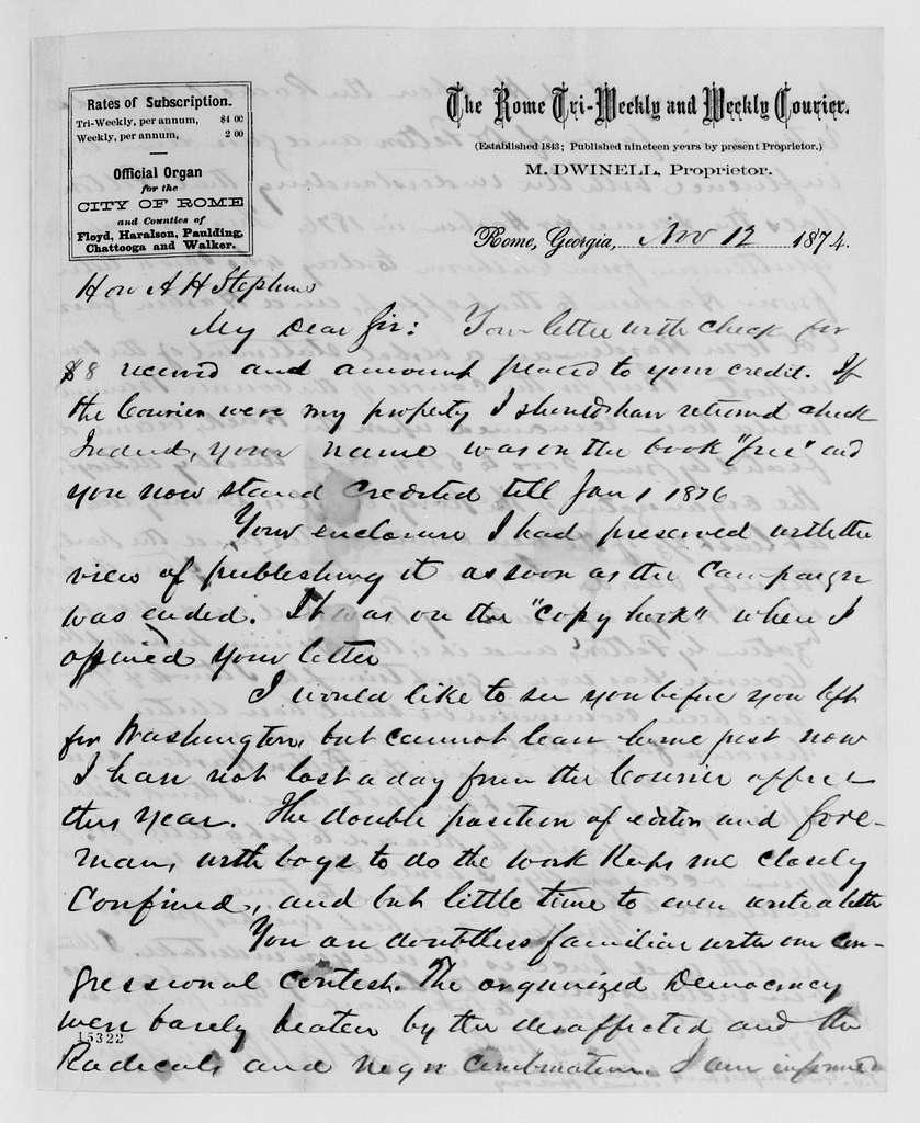 Alexander Hamilton Stephens Papers: General Correspondence, 1784-1886; 1874, Oct. 1-Nov. 25