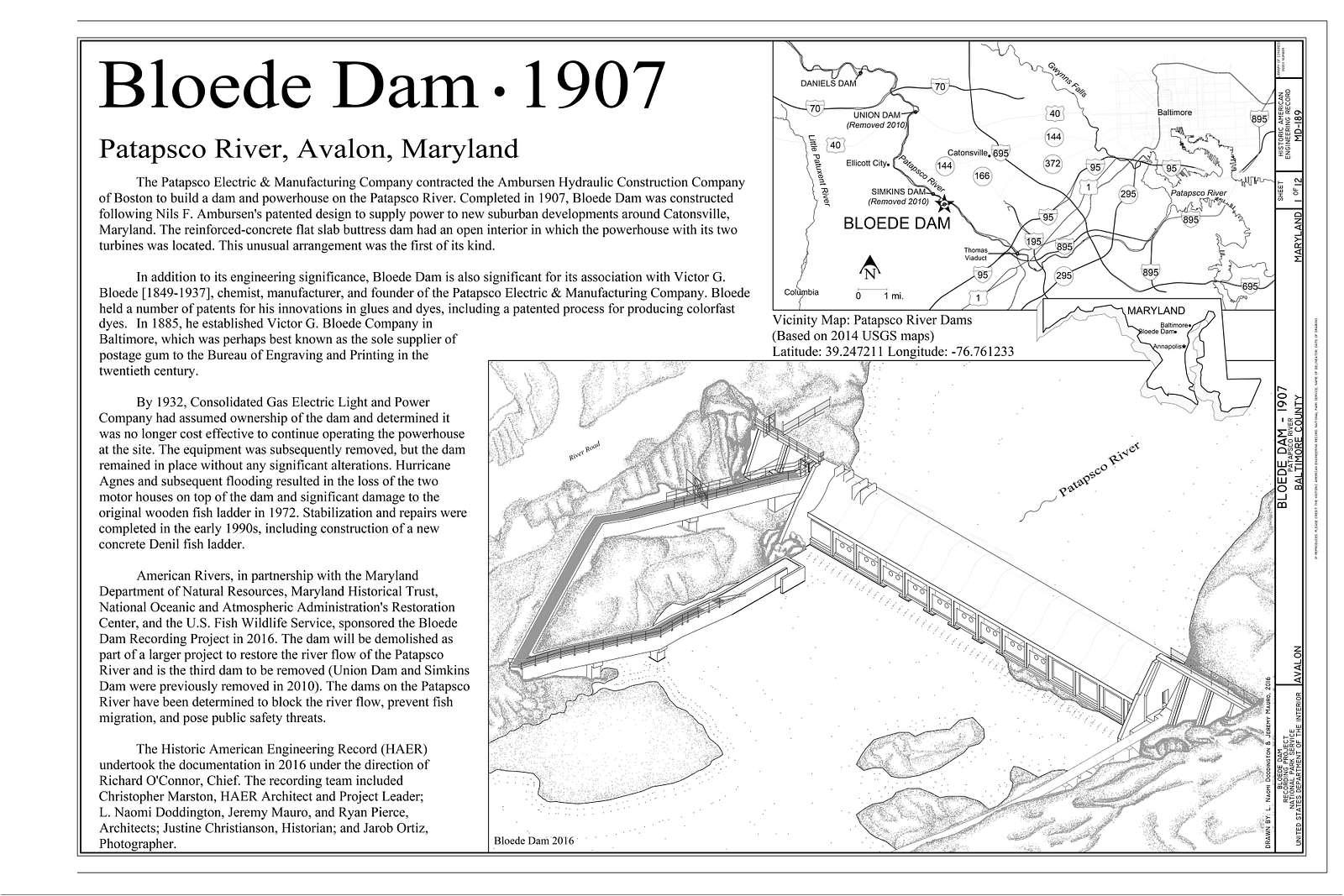 Bloede Dam, Spanning Patapsco River, Avalon, Baltimore County, MD