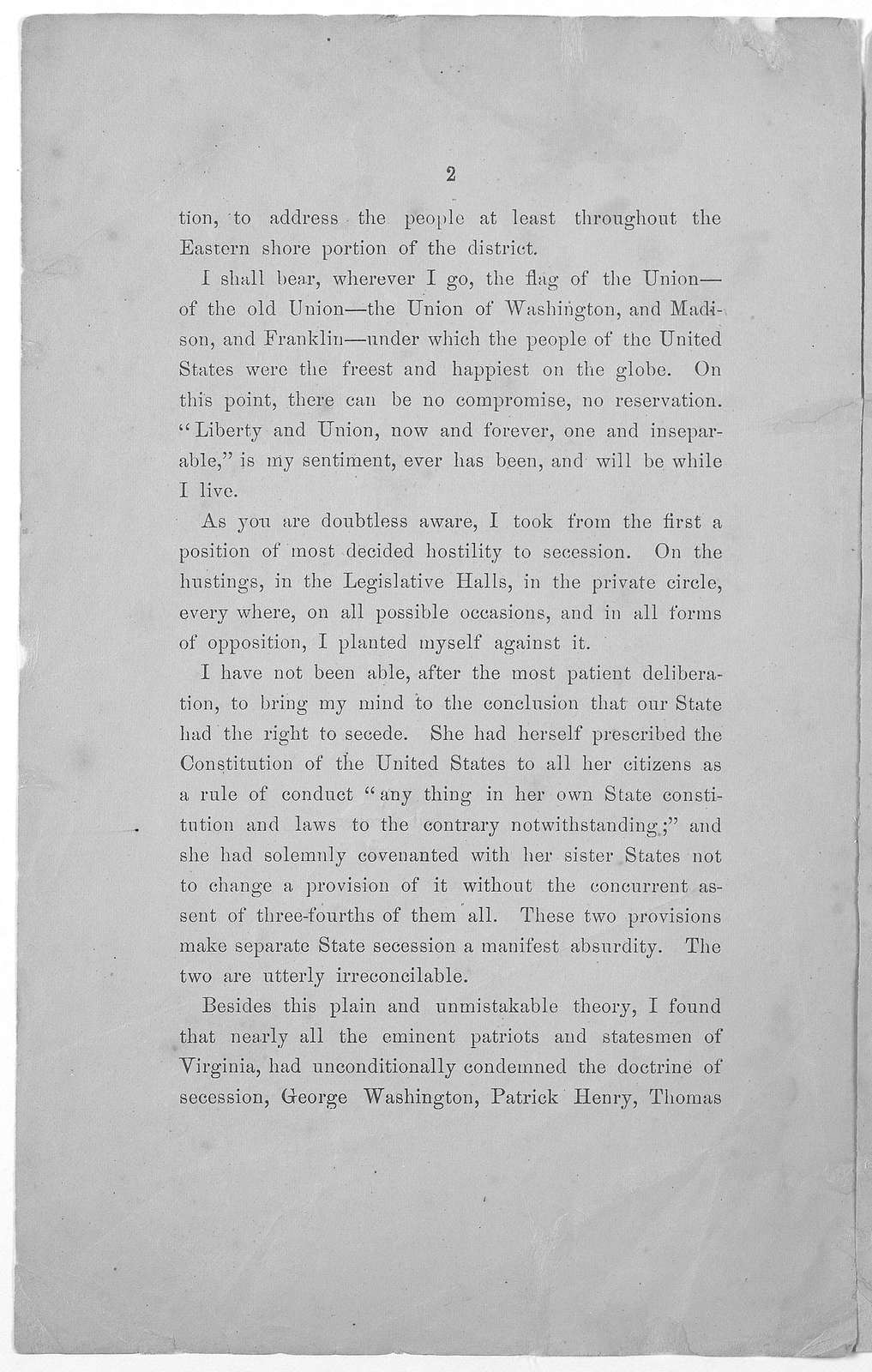 Extract from circular address of Hon. Joseph Segar to the voters of the First Congressional district of Virginia, February 1862. [n. p. 1862].