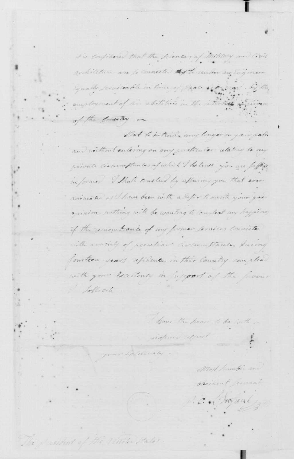 George Washington Papers, Series 7, Applications for Office, 1789-1796: Pierre Charles L'Enfant