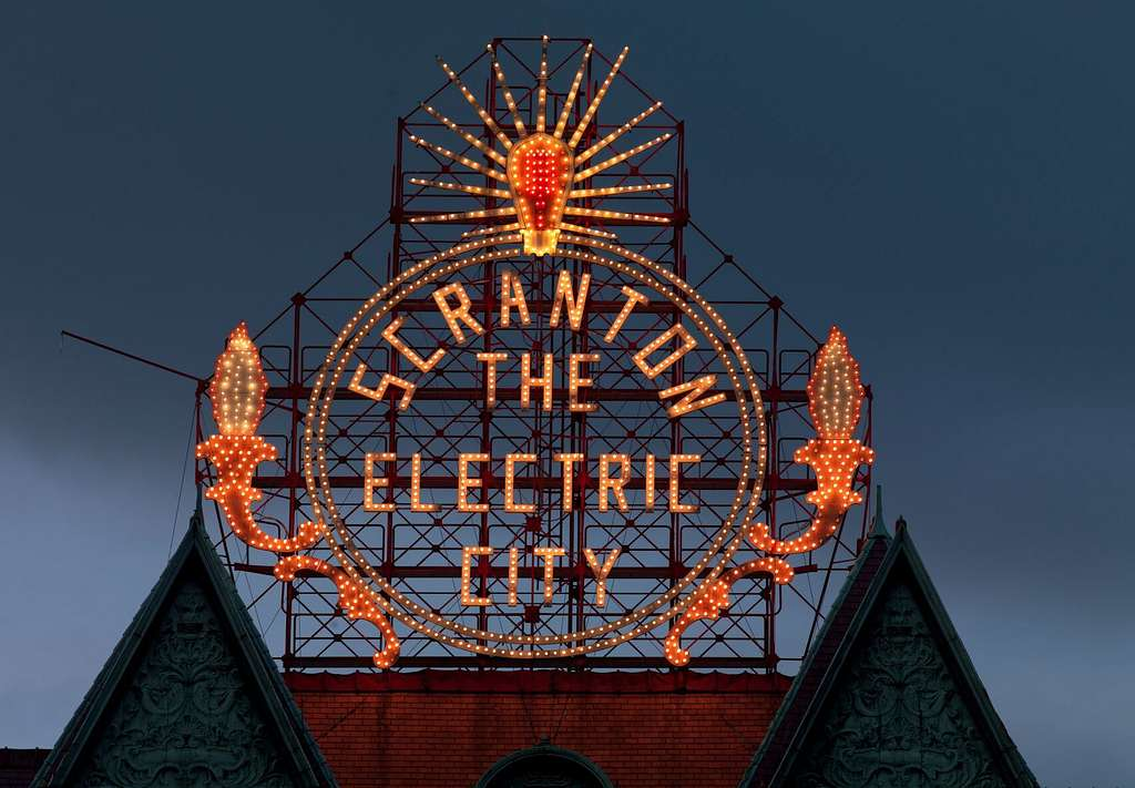 Historic Electric City sign, restored in 2008, shines again. Scranton, Pennsylvania