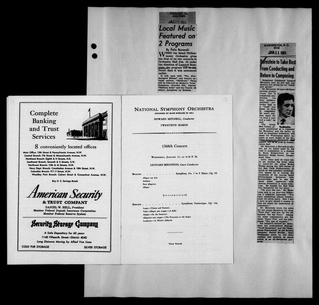 Leonard Bernstein Scrapbook: Vol. XIV. Jan. 30, 1951-May 14, 1952