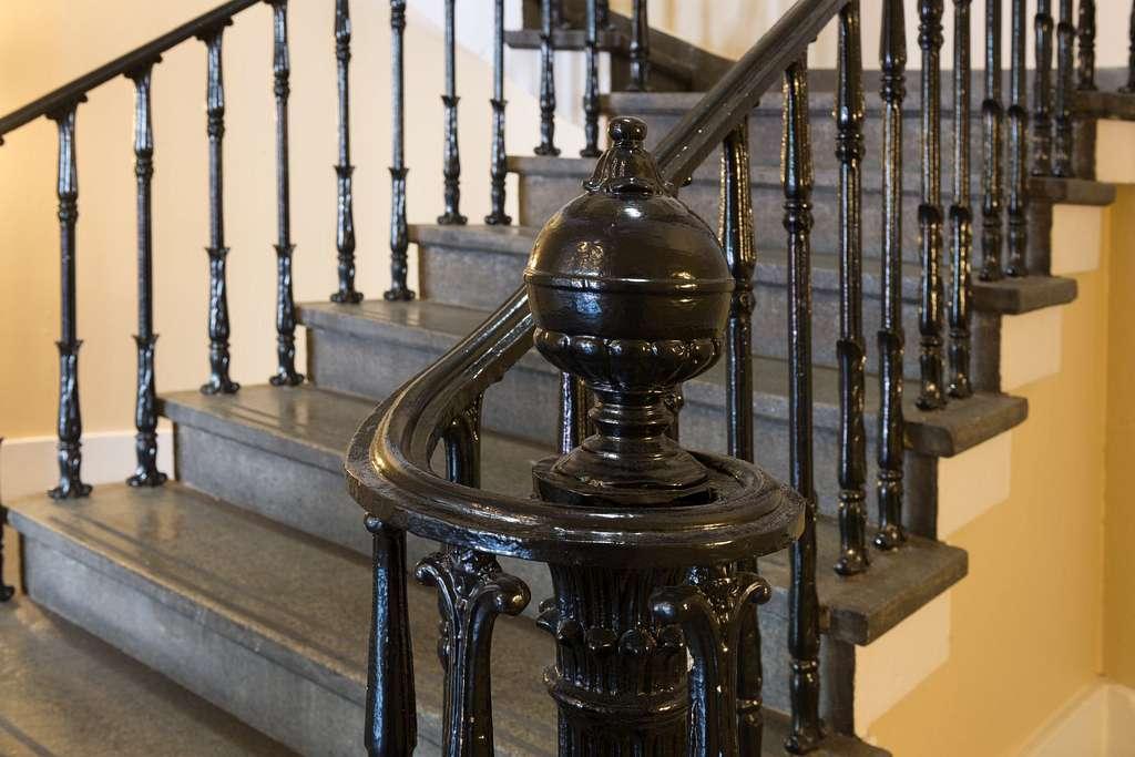 Lobby, stairway detail. U.S. Custom House, East Bay and Bull Streets, Savannah, Georgia