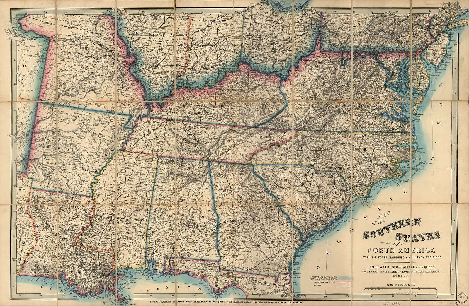 Map of the southern states of North America with the forts, harbours & military positions