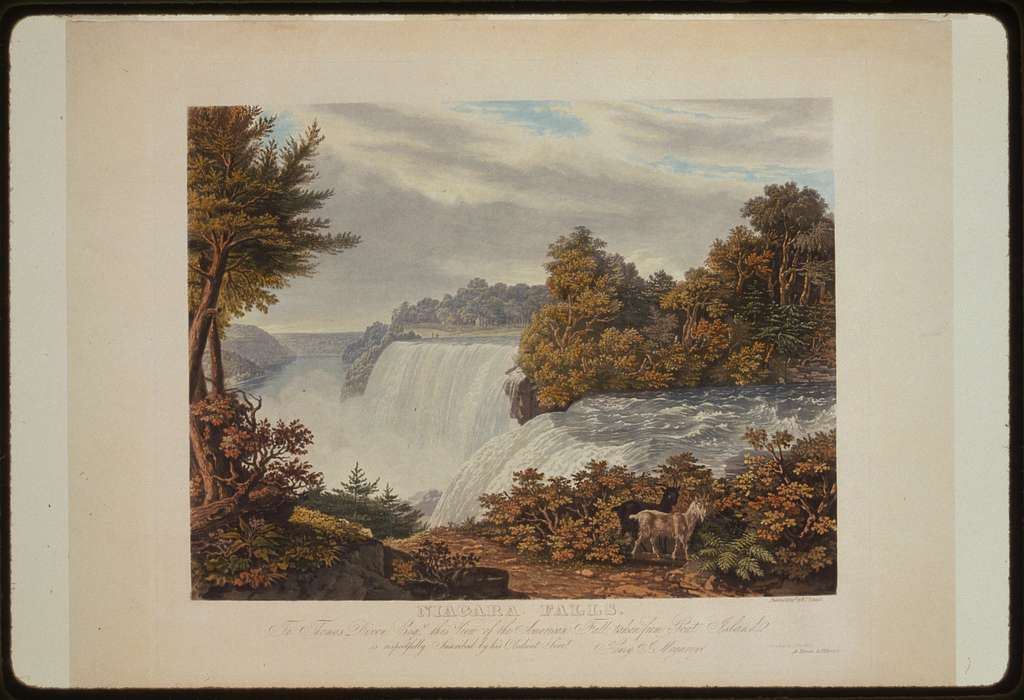 Niagara Falls. To Thomas Dixon esq. this view of the American Fall taken from Goat Island / painted & engd. by W.J. Bennett ; printed by J. Neale.