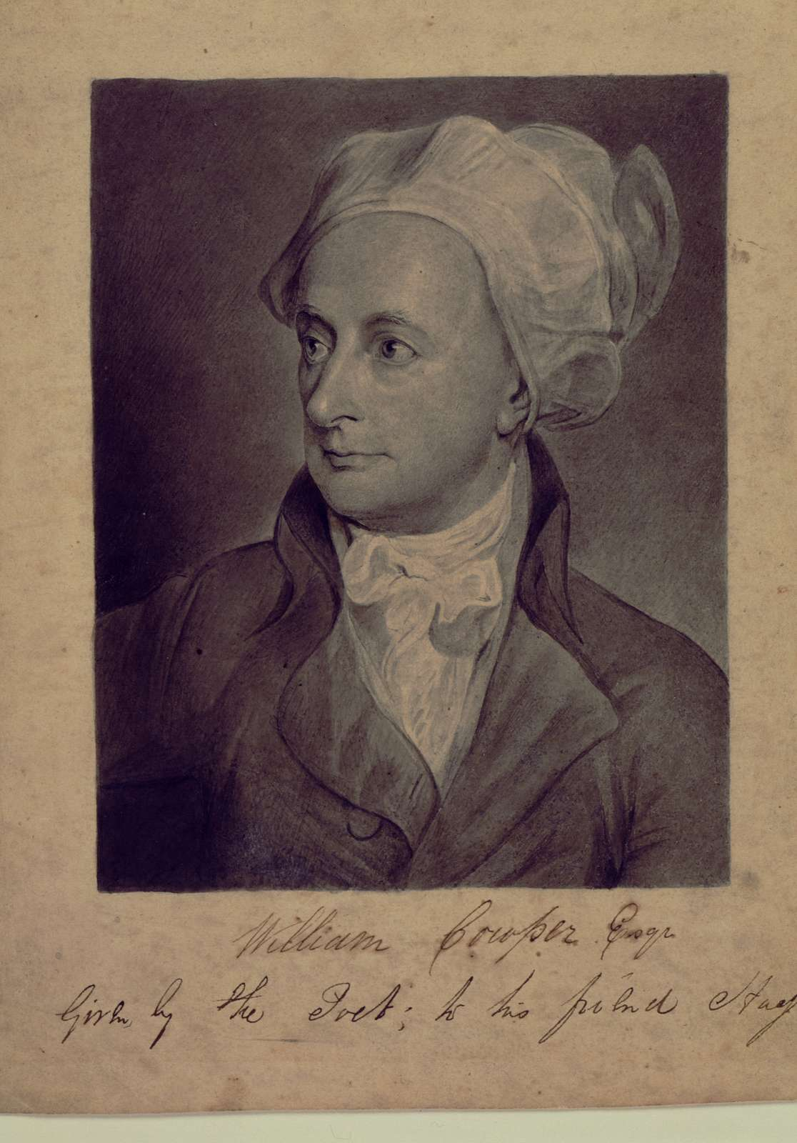 [Portrait of William Cowper after George Romney.n.p., ca 1802?]