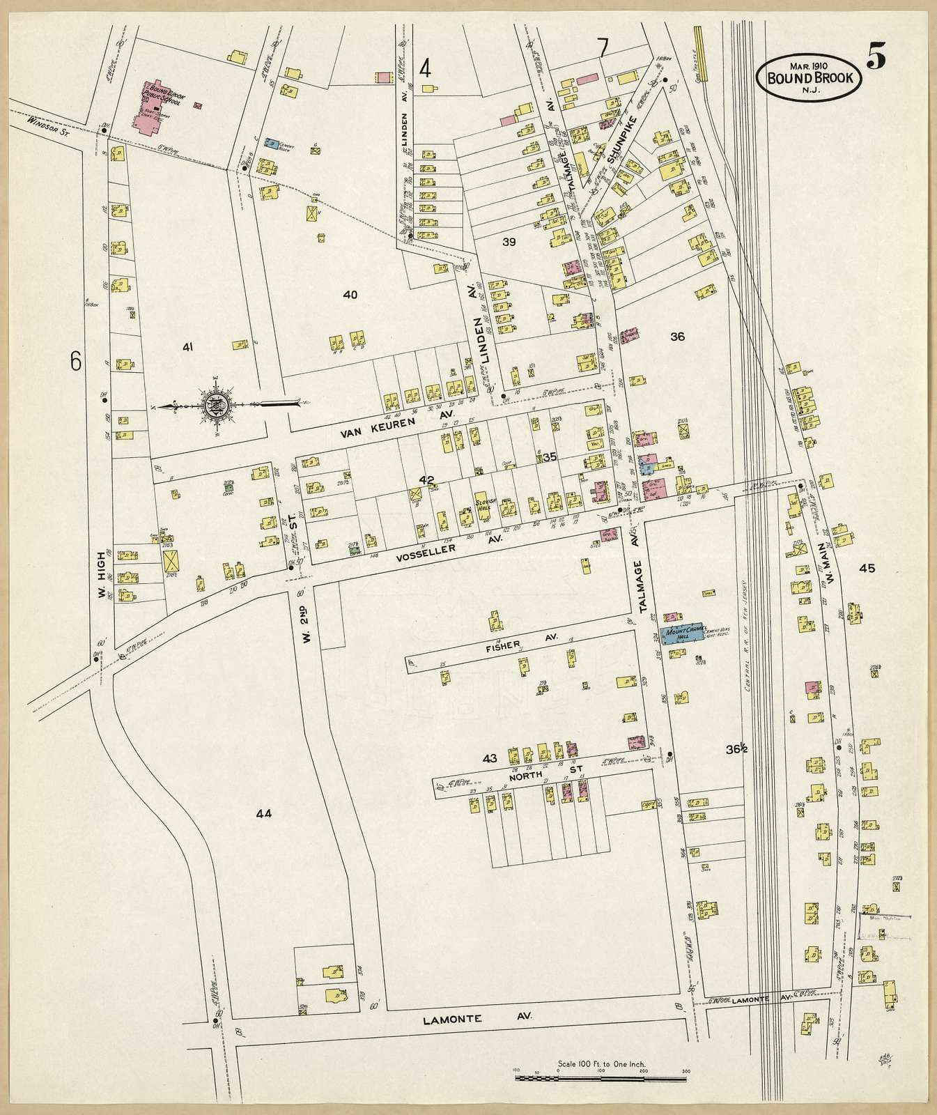 Sanborn Fire Insurance Map from Bound Brook, Somerset County, New Jersey.