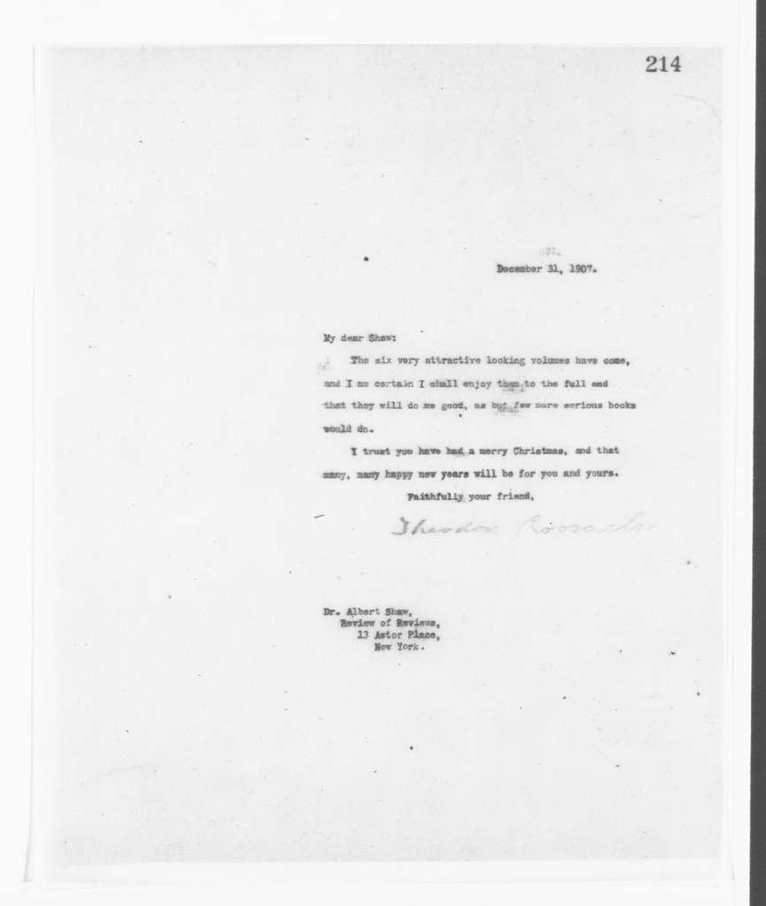 Theodore Roosevelt Papers: Series 2: Letterpress Copybooks, 1897-1916; Vol. 77, 1907, Dec. 11-1908, Jan. 17