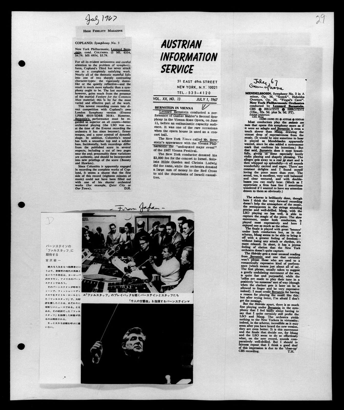Leonard Bernstein Scrapbook: Vol. 62. June 10, 1967-Oct. 1, 1967