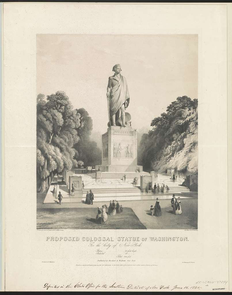 Proposed colossal statue of Washington. For the city of New York