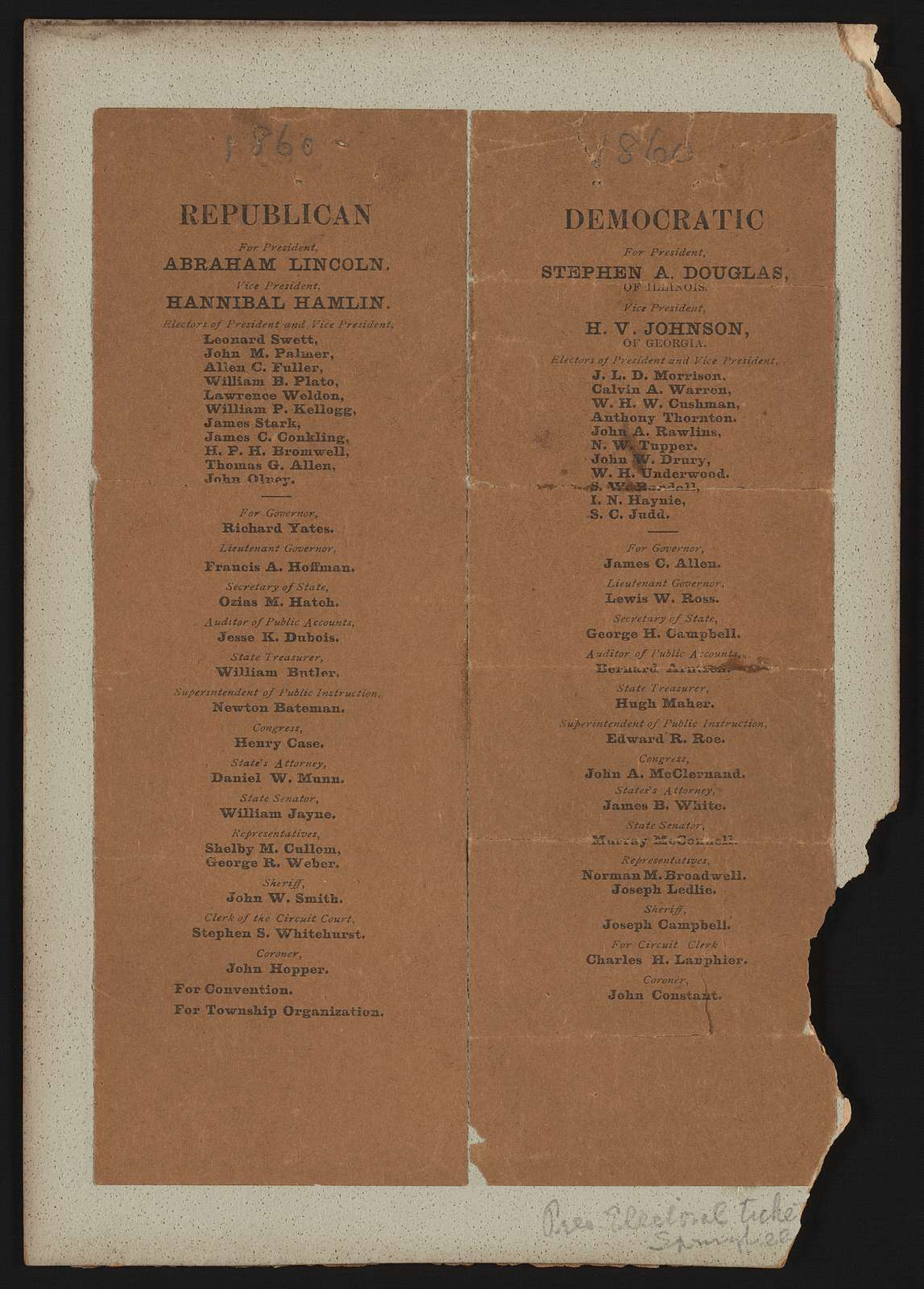 Republican and democratic tickets. [Illinois campaign ticket]