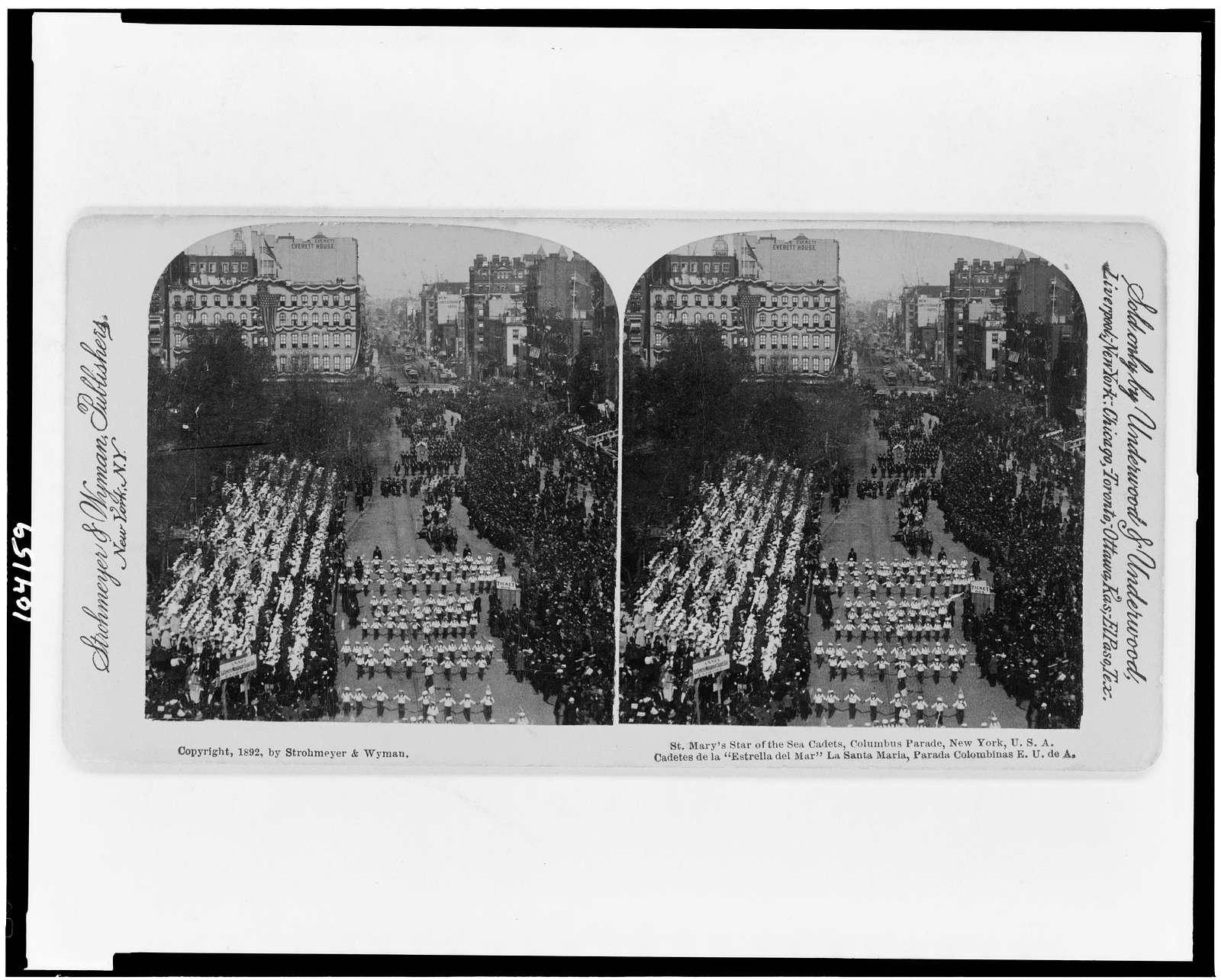 """St. Mary's Star of the Sea Cadets, Columbus Parade, New York, U.S.A. Cadetes de la """"estrella del war"""" La Santa Maria, Parada Colombinas E.U. de A."""