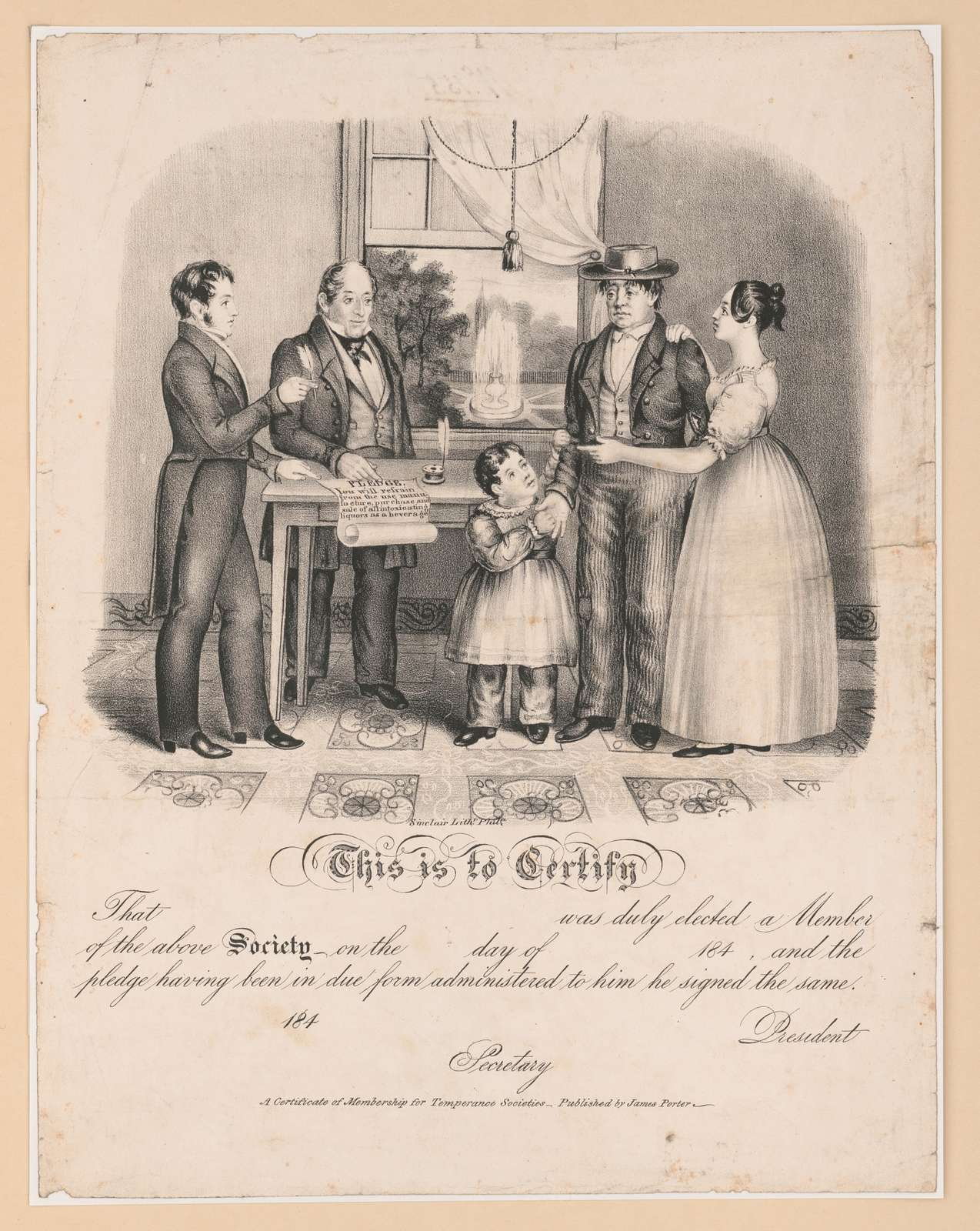 This is to certify that ... was duly elected a member of the above society on the ... day of ... 184-, and the pledge having been in due form administered to him he signed the same / Sinclair Lithr. Phila.