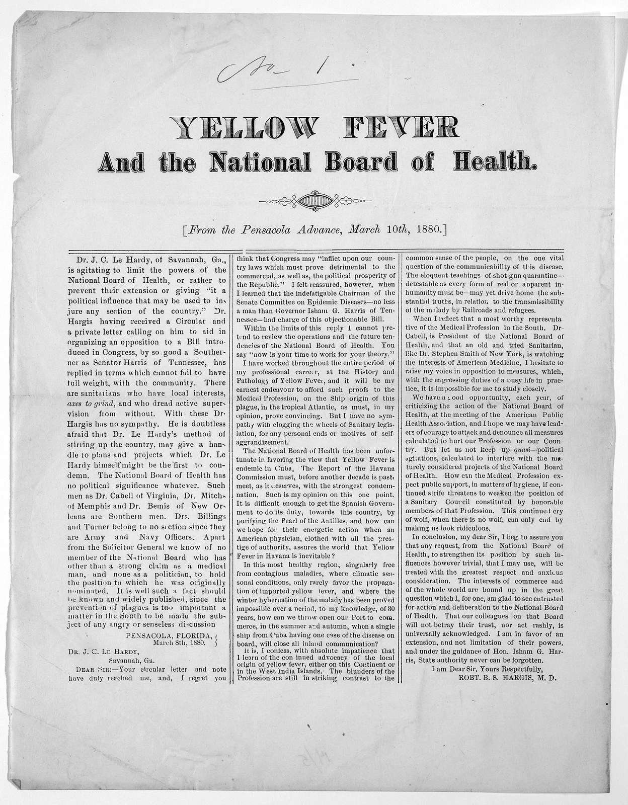 Yellow fever and the national board of health. From the Pensacola Advance, March 10th, 1880. [Pensacola 1880].
