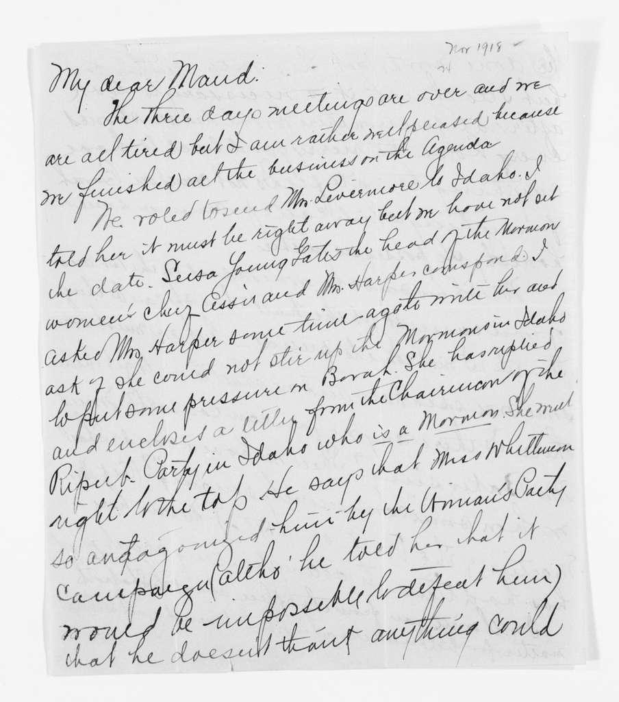 Carrie Chapman Catt Papers: General Correspondence, circa 1890-1947; Park, Maud Wood; 1916-1919