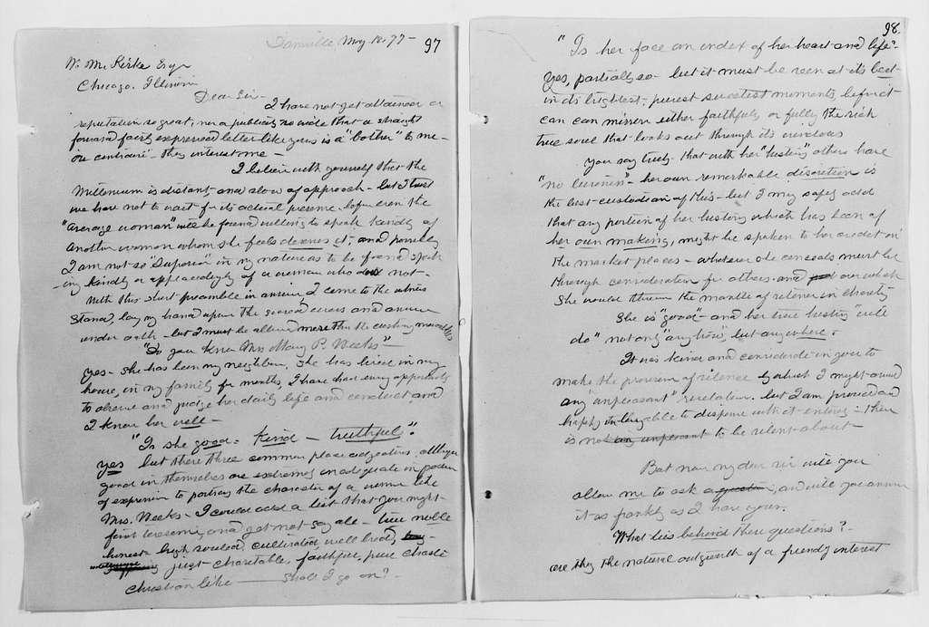 Clara Barton Papers: Letterbooks, 1876-1911; Unbound copies; 1876, Aug.-1878, Sept.