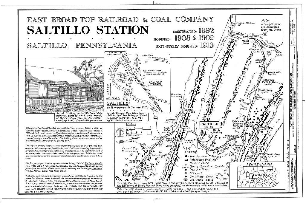 East Broad Top Railroad, Saltillo Station, Along the East Broad Top Railroad (at milepost 18.8) and PA Route 655 (South Main Street), Saltillo, Huntingdon County, PA