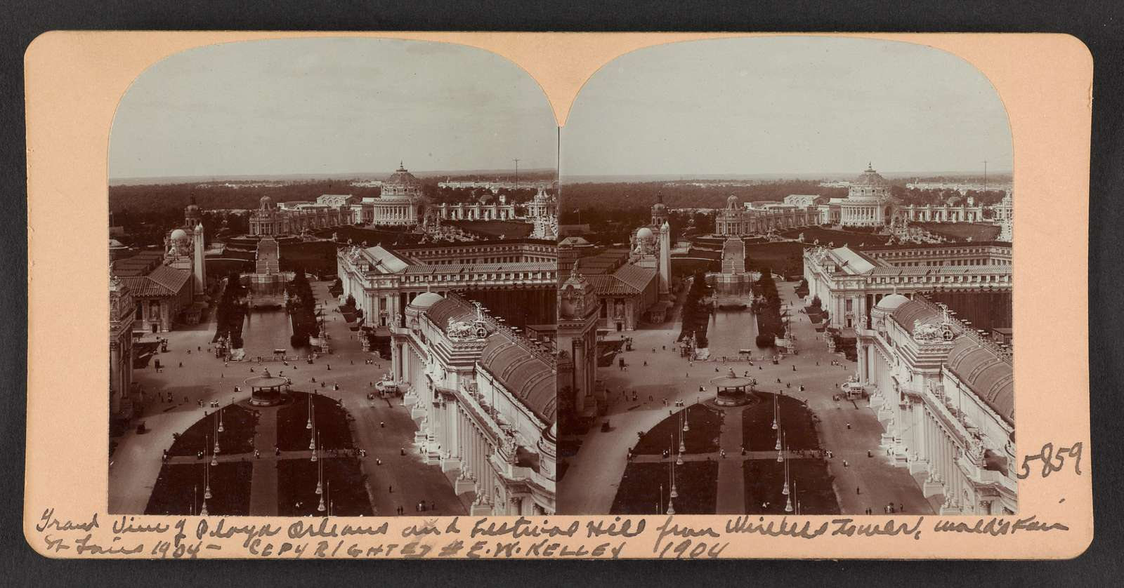 Grand view of Plaza Orleans and Festival Hill from wireless tower, World's Fair, St. Louis, 1904.