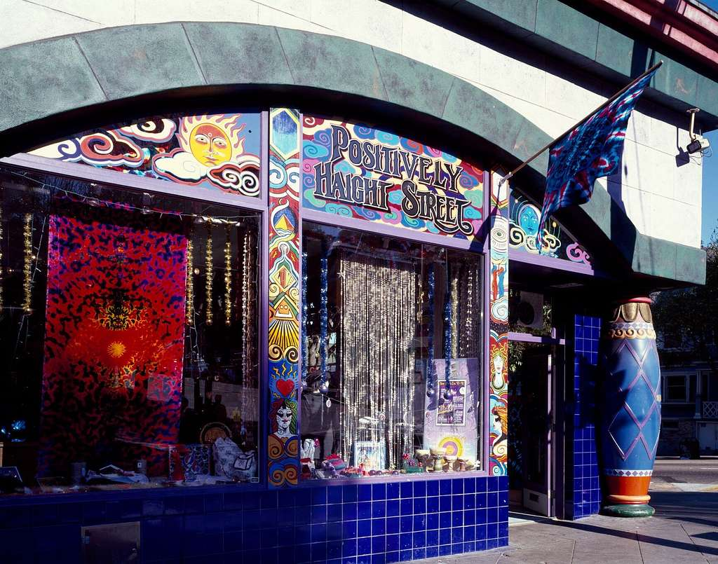 'Head shop' on Haight Street in the Haight-Ashbury section of San Francisco, California, where the hippie movement was headquartered in the 1960s