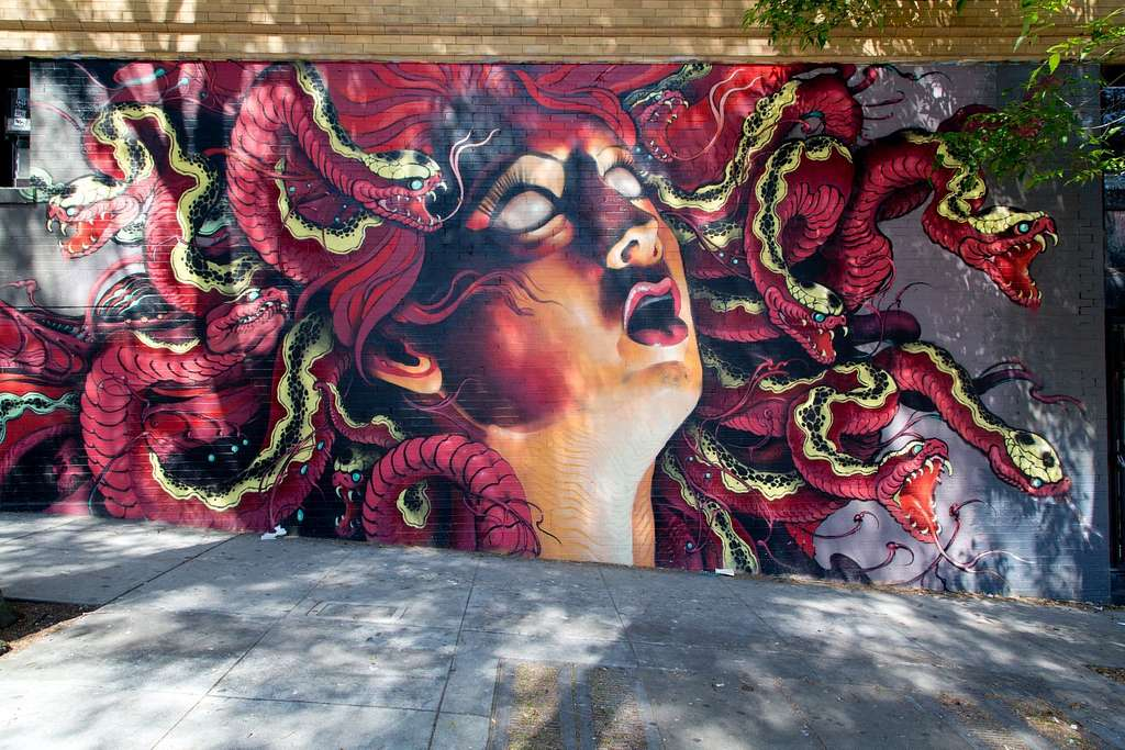 [Medusa mural by Lango in the Haight-Ashbury neighborhood, San Francisco, California]