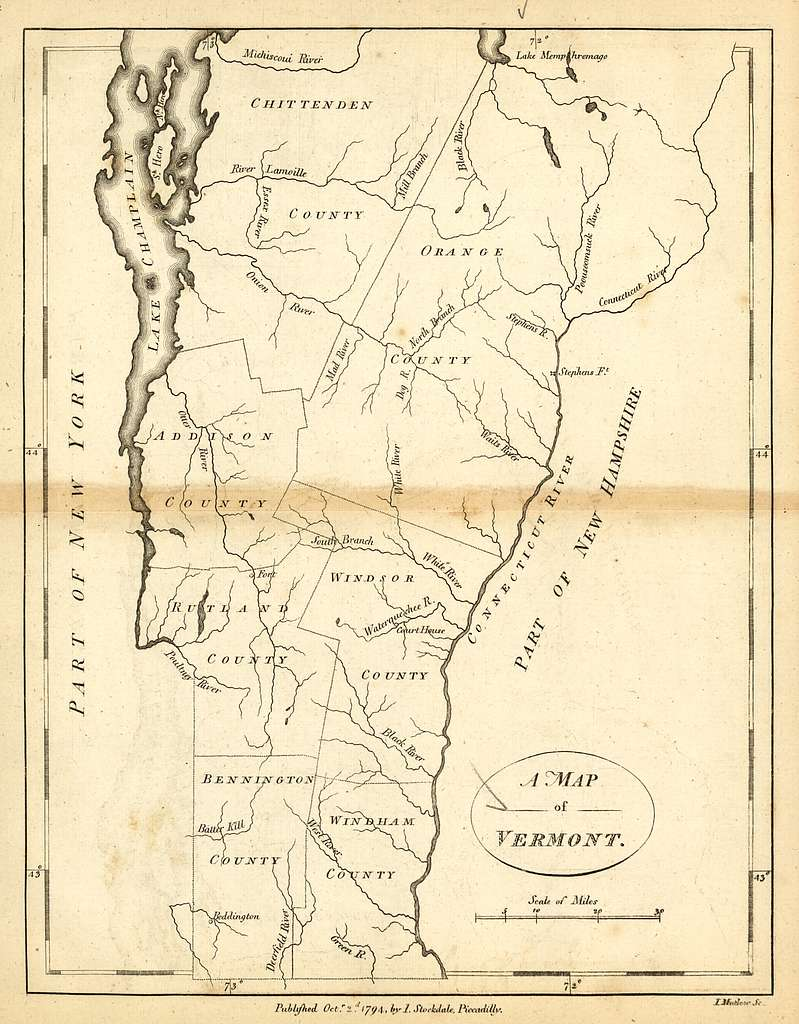 A map of Vermont.