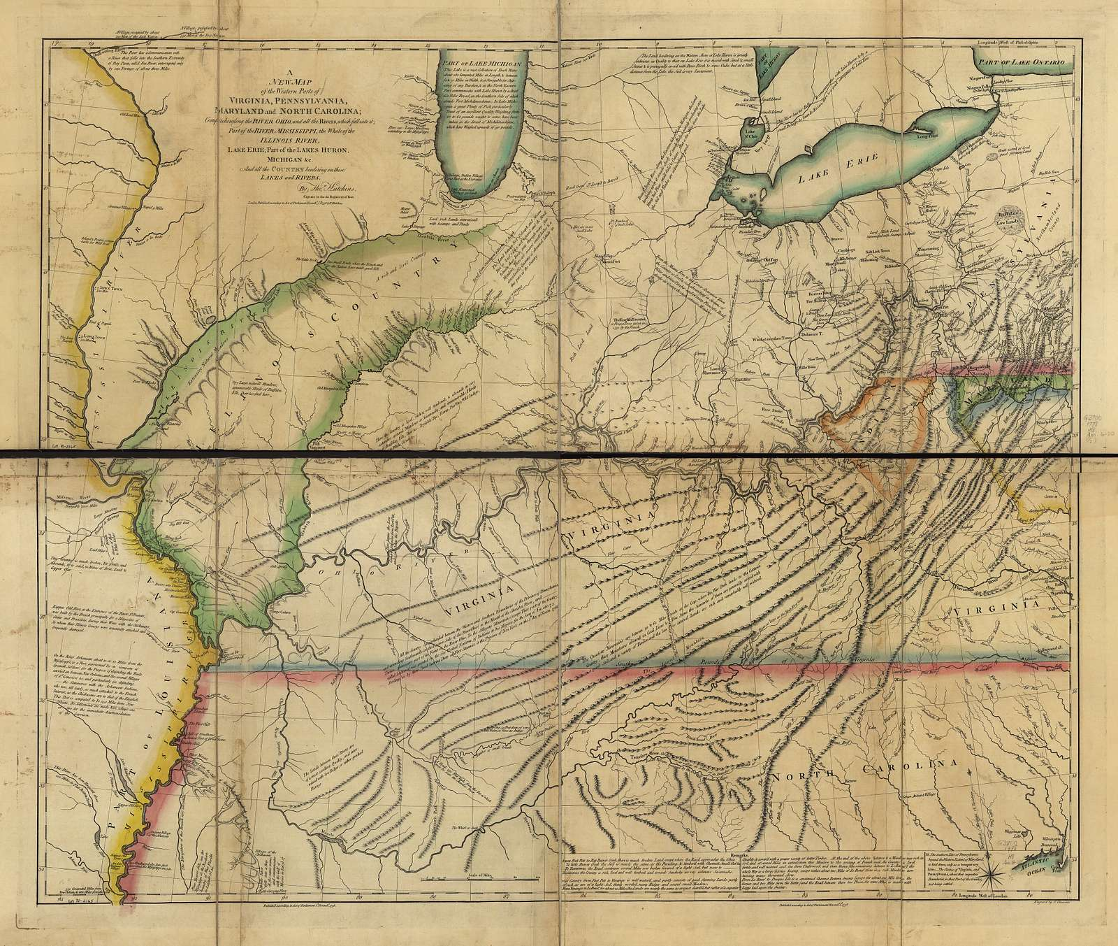 A new map of the western parts of Virginia, Pennsylvania, Maryland, and North Carolina; comprehending the River Ohio, and all the rivers, which fall into it; part of the River Mississippi, the whole of the Illinois River, Lake Erie; part of the Lakes Huron, Michigan &c. and all the country bordering on these lakes and rivers,