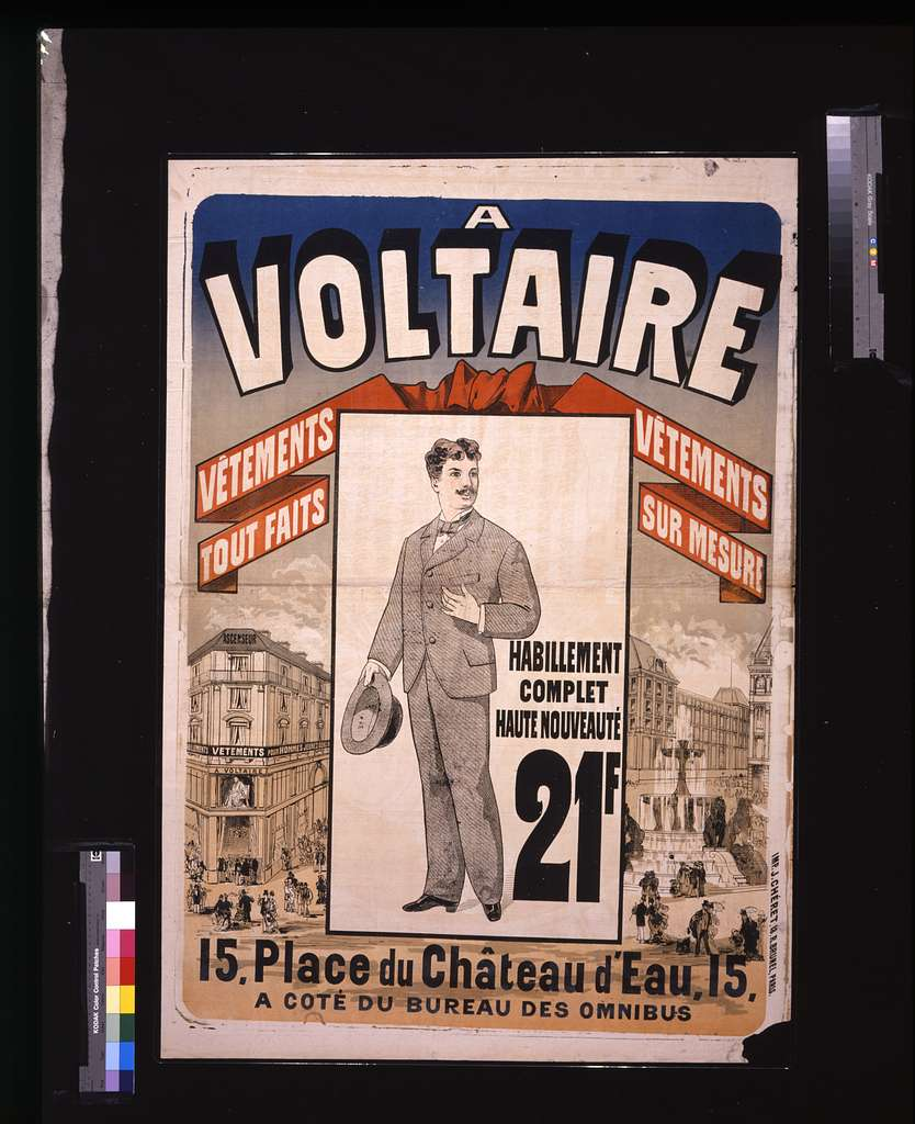 A Voltaire: vêtements tout fait, vêtements sur mesure / / J. Chéret.