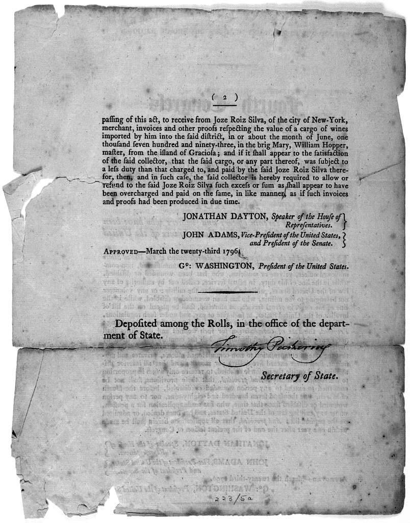 ... An act for the relief of certain officers and soldiers who have been wounded or disabled in the actual service of the United States. [Followed by] An act for the relief of Joze Roiz Silva. [Philadelphia, 1796.].